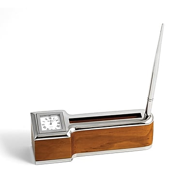 Bey-Berk Amber Wood  and Chrome Plated Desk Clock With Pen and Business Card Holder