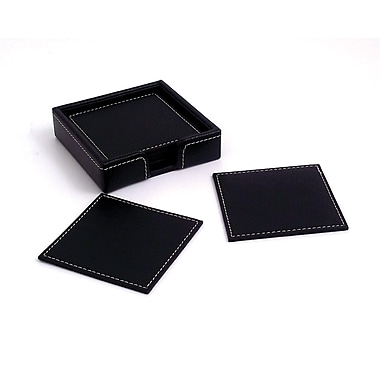 Bey-Berk 6 Piece Black Leather Coaster Set With Holder
