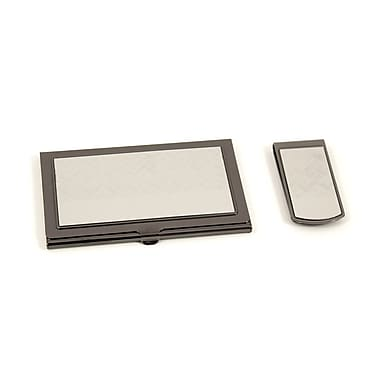 Bey-Berk Silver Plated  Money Clip and Business Card Case Set, Gun Metal Finished