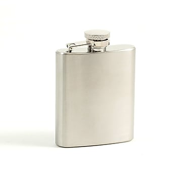 Bey-Berk Stainless Steel  Flask Satin Finish With Cap and Durable Rubber Seal, 3 oz.
