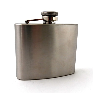 Bey-Berk Stainless Steel  Flask Satin Finish With Cap and Durable Rubber Seal, 5 oz.