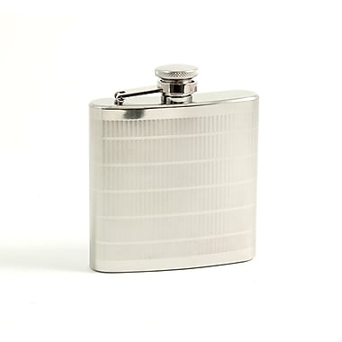 Bey-Berk Stainless Steel  Line Design Flask With Captive Cap and Durable Rubber Seal, 6 oz.