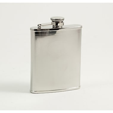 Bey-Berk Stainless Steel Oval Medallion Flask With Captive Cap and Durable Rubber Seal, 6 oz.