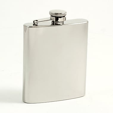 Bey-Berk Stainless Steel Mirror Finish Flask With Captive Cap and Durable Rubber Seal, 7 oz.