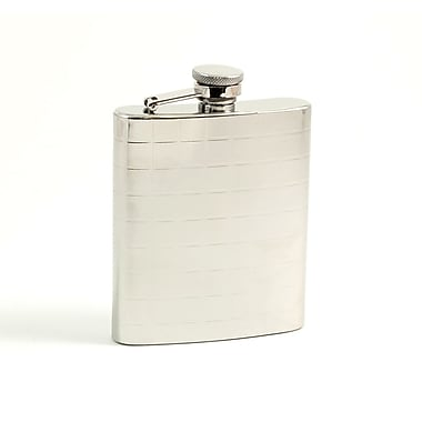 Bey-Berk Stainless Steel  Mirror Finish Flask With Cap and Rubber Seal, 7 oz., Checker Design