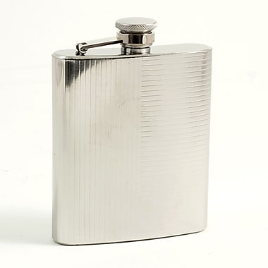 Bey-Berk Stainless Steel  Mirror Finish Flask With Cap and Rubber Seal, 7 oz., Lined Design