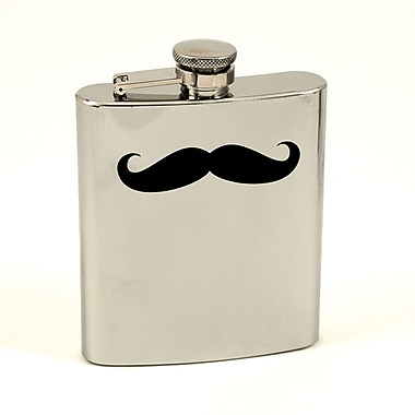 Bey-Berk Stainless Steel Mirror Finish Flask With Cap and Rubber Seal, 7 oz., Moustache