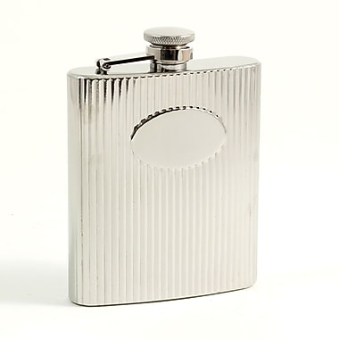 Bey-Berk Stainless Steel  Mirror Finish Flask With Cap and Rubber Seal, 7 oz., Medallion