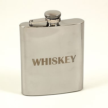 Bey-Berk Stainless Steel  Mirror Finish Flask With Cap and Rubber Seal, 7 oz., Whiskey