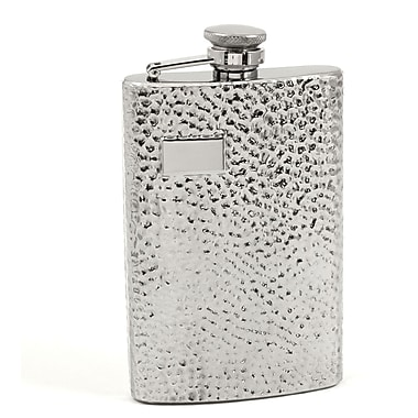 Bey-Berk Stainless Steel  Hammered Finish Flask With Cap and Rubber Seal, 8 oz.
