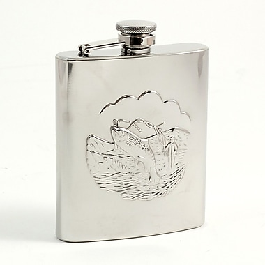 Bey-Berk Stainless Steel  Fishing Flask With Captive Cap and Durable Rubber Seal, 8 oz.