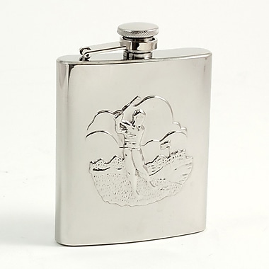 Bey-Berk Stainless Steel  Golfer Flask With Captive Cap and Durable Rubber Seal, 8 oz.