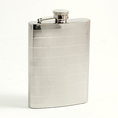 Bey-Berk Stainless Steel  Line Design Flask With Captive Cap and Durable Rubber Seal, 9 oz.
