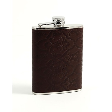 Bey-Berk Stainless Steel  Brown Leather Filigree Design Flask, 6 oz.