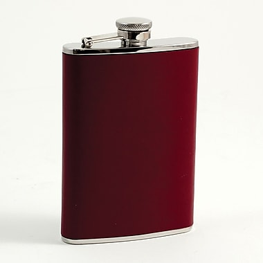 Bey-Berk Stainless Steel  Burgundy Leather Flask With Cap and Durable Rubber Seal, 8 oz.
