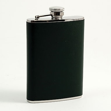 Bey-Berk Stainless Steel  Forest Green Leather Flask With Cap and Rubber Seal, 8 oz.