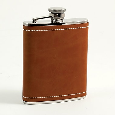 Bey-Berk Stainless Steel Saddle Brown Leather and White Stitch Flask, 6 oz.