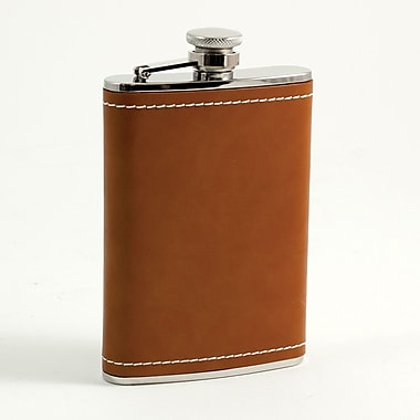 Bey-Berk Stainless Steel  Saddle Brown Leather Flask With Cap and Rubber Seal, 8 oz.
