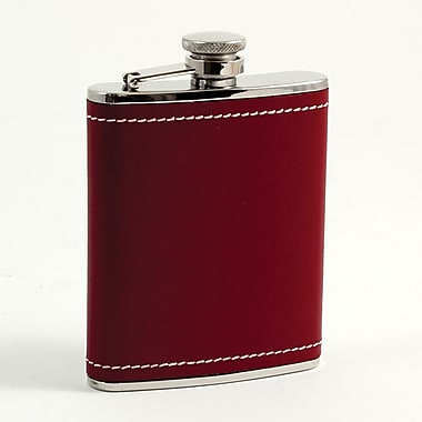 Bey-Berk Stainless Steel  Red Leather and White Stitch Flask, 6 oz.