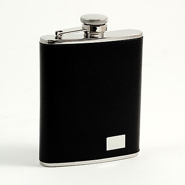 Bey-Berk Stainless Steel Black Buffalo Leather Flask With Engraving Plate, 6 oz.