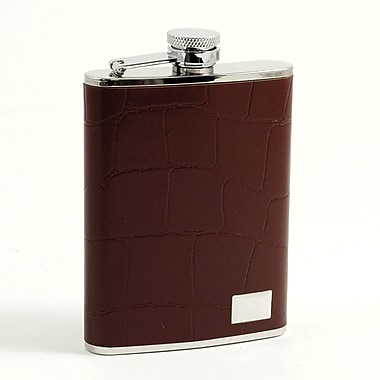 Bey-Berk Stainless Steel  Brown Croco Leather Flask With Engraving Plate, 6 oz.