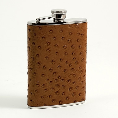 Bey-Berk Stainless Steel Ostrich Brown Leather Flask With Cap and Rubber Seal, 8 oz.