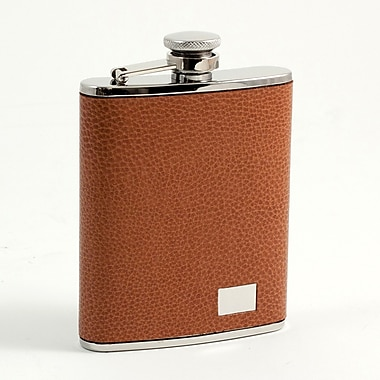 Bey-Berk Stainless Steel  Brown Leather Flask With Engraving Plate, 6 oz.