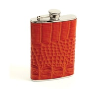 Bey-Berk Stainless Steel  Ostrich Orange Leather Flask With Cap and Rubber Seal, 8 oz.