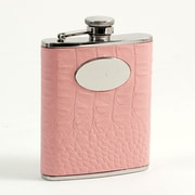 Bey-Berk Stainless Steel  Pink Croco Leather Flask With Engraving Medallion, 6 oz.