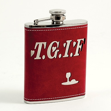 Bey-Berk Stainless Steel Red Leather TGIF Flask With Captive Cap and Rubber Seal, 6 oz.