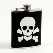 Bey-Berk Stainless Steel  Black Leather Skull and Bones Flask With Cap and Rubber Seal, 6 oz.