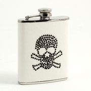 Bey-Berk Stainless Steel  White Flask With Black Stone Skull Design, Cap and Rubber Seal, 6 oz.