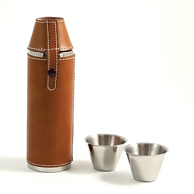 Bey-Berk Stainless Steel  Tan Leather Cylinder Flask With Stitching and Two Cups, 10 oz.