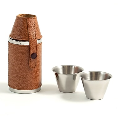 Bey-Berk Stainless Steel  Brown Leather Cylinder Flask With Two Cups, 6 oz.