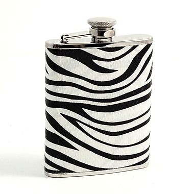Bey-Berk Stainless Steel  Zebra Pattern Flask With Captive Cap and Durable Rubber Seal, 6 oz