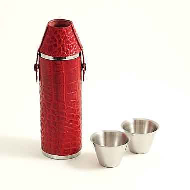 Bey-Berk Stainless Steel Red Croco Leather Cylinder Flask With Two Cups, 10 oz.