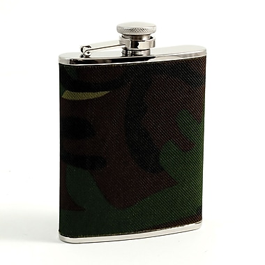 Bey-Berk Stainless Steel  Camouflage Pattern Flask With Captive Cap and Rubber Seal, 6 oz.