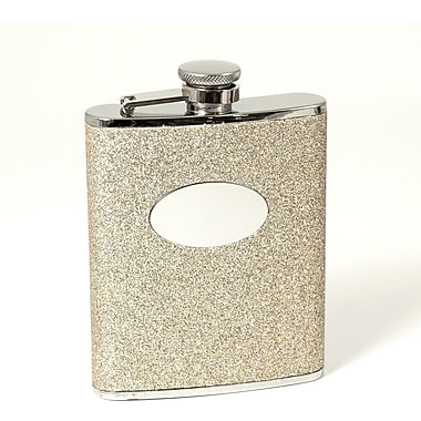 Bey-Berk Stainless Steel Gold Glitter Flask With Oval Medallion, Cap and Rubber Seal, 6 oz.