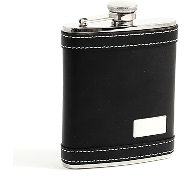 Bey-Berk Stainless Steel  Black Leather Flask With Engraving Plate, Cap and Rubber Seal, 6 oz.