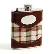 Bey-Berk Stainless Steel  Brown Leather and Beige Plaid Fabric Flask With Oval Emblem, 6 oz.