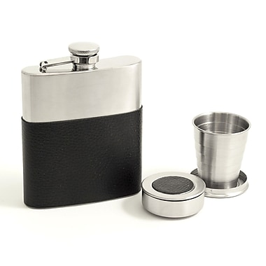 Bey-Berk Stainless Steel Flask Gift Set With Black Leather Wrap and 2 Collapsible Cups, 7 oz.