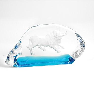 Bey-Berk Etched Glass  Bull Sculpture