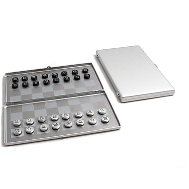 Bey-Berk Brushed Stainless  Steel Magnetic Travel Chess Set