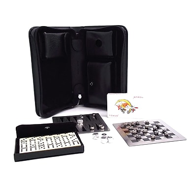 Bey-Berk Black Leather  Multi Game Set With Dominos, Playing Cards, Backgammon, Chess