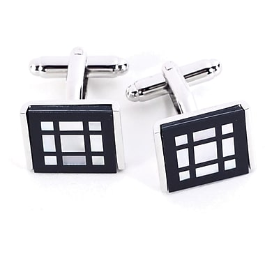 Bey-Berk Rhodium Plated Cufflinks, Pearl Square