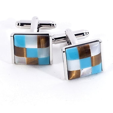 Bey-Berk Rhodium Plated  Cufflinks With Semi Precious Stones, Square