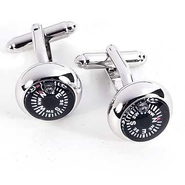 Bey-Berk Rhodium Plated  Cufflinks, Functional Compass