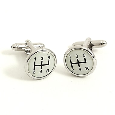 Bey-Berk Rhodium Plated Cufflinks, Gear Shifter Design