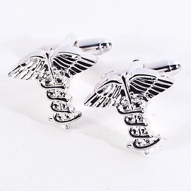 Bey-Berk Rhodium Plated Cufflinks, Caduceus