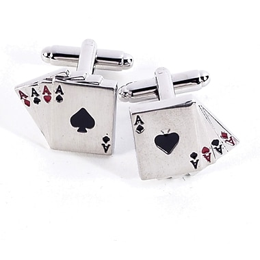 Bey-Berk Rhodium Plated  Cufflinks, Four Aces